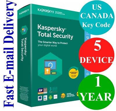 Kaspersky Total Security 5 Device / 1 Year (US & CANADA Key Code) 2020