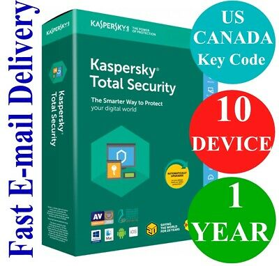 Kaspersky Total Security 10 Device / 1 Year (US & CANADA Key Code) 2019