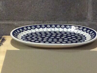 Boleslawiec Polish Pottery Large Serving/meat Plate - Peacock Design