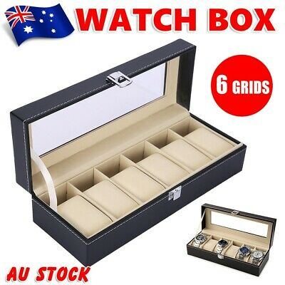 6 Grids Watch Jewelry Display Case PU Leather Jewelry Storage Box Organizer