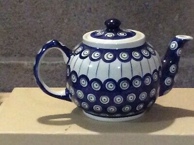 Boleslawiec Polish Pottery Traditional Style Teapot - Peacock Design