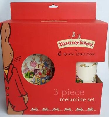 Bunnykins Royal Doulton 3 piece Melamine dinner set ABC Cup Bowl Plate Baby Gift