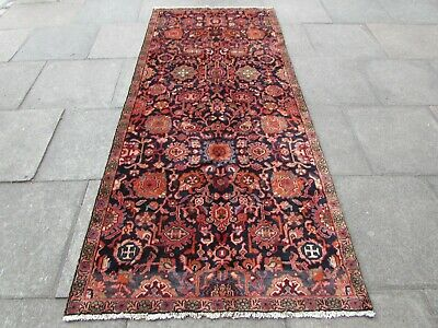 Old Hand Made Traditional Persian Rug Oriental Wool Blue Red long Rug 274x117cm
