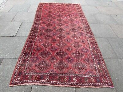 Old Hand Made Traditional Persian Rug Oriental Wool Red long Rug 298x152cm
