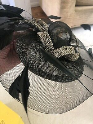 An Elegant Black Fascinator with headband and clip for extra Security
