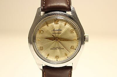 """Vintage Swiss Rare Men's Hand Wind Up Watch """"Ascalon"""" With Beautiful Relief Dial"""