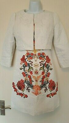 Beautifully fitted embossed Dress and matching cream Hetyy Jacket Sz S 8-10