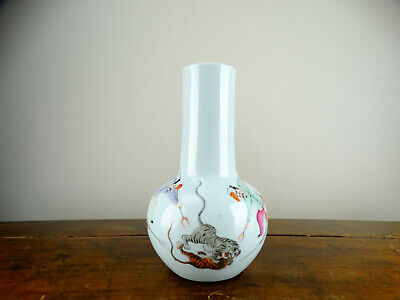 RARE Chinese Porcelain Bottle Vase with Tiger Fighting and Hunters Republic