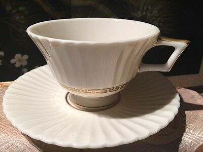 Lenox Cretan China Footed Cup And Saucer Set Gold Greek Key Ivory