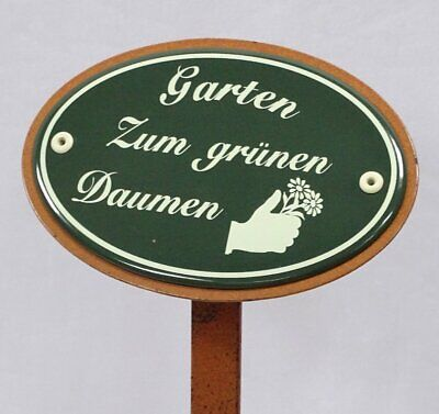 G1917: Large Garden Sign Enamel, Garden for Green Thumb, Ground Spike 50 CM