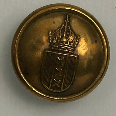 Antique gilt Livery Button triple x Shield with Crown 23 mm