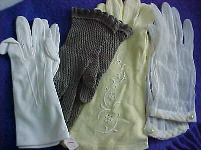 VINTAGE    LADIES SUMMER  GLOVES.  COTTON/NYLON/CROCHET , pre owned,4   pairs!
