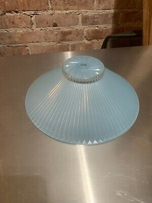 Vintage White Blue Glass Center Hole Ceiling Light Fixture Shade Art Deco