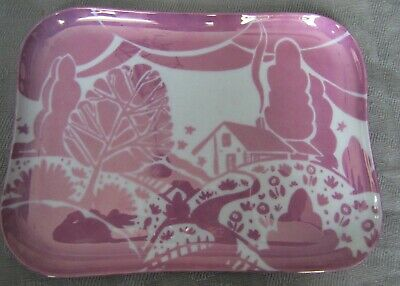 Vanity/Dresser Tray Limoges Art Deco Lustre Pink White: Homage to Clarice Cliff