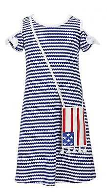 Bonnie Jean Girls Americana 4th of July Cold Shoulder Star Outfit 4 5 6 6X New