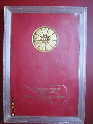 UK 1973 Entry into EEC Prime Minister Heath Gold-plated Medal by Franklin Mint