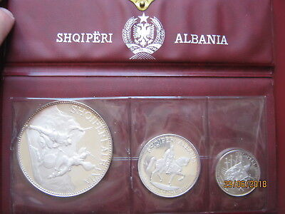 Albania 1968 3 Coin Silver Proof Coin Set: 5 10 & 25 Leke wallet with info card