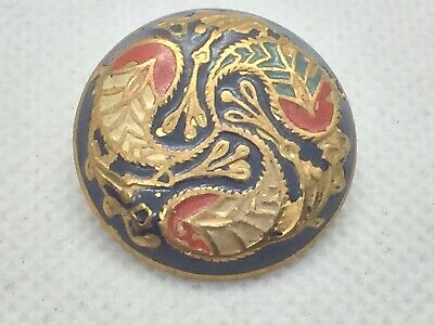 Antique,Vintage Repousse Style Hand Painted Button