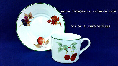 Royal Worcester Evesham Vale - Set Of      8     Cups & Saucers