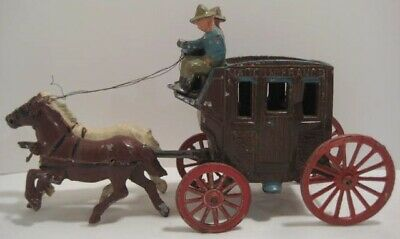 Old Unusual Metal Western Horse Drawn Stagecoach w/ Cowboys - Made in France