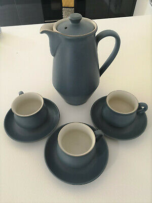 Mid century Denby Blue Ode coffee post + 3 cups and saucers - excellent