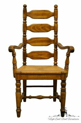 High End Rustic Country Style Ladderback Dining Arm Chair w. Rush Seat