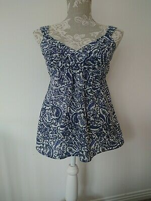 Seraphine Maternity Summer Cotton Top Size 6 Blue White Mix Pattern.