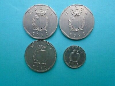 Four Malta  Coins 1992 And 1995