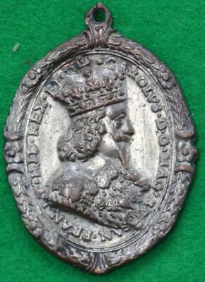 Charles I, Civil War  - Oval Royalist Badge by Rawlins Silvered AE