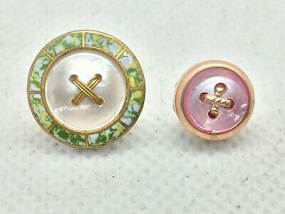 Antique, Vintage Edwardian Enamel And Mother Of Pearl Stitch Thru Buttons