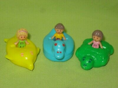 VINTAGE 1990 Bathtime Soap Dish 3 FIGURES Polly Pocket Lulu Titch &Animal FLOATS