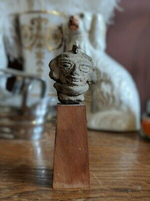 Nice Pre Columbian Pottery Clay Head On Museum Base Tested Ancient Art