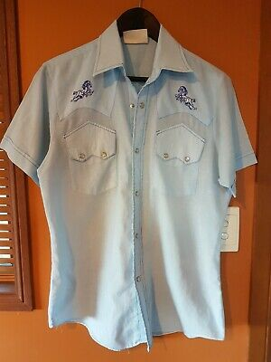 Vintage Western Short Sleeve shirt horse embroided pearl snap buttons sz M gc