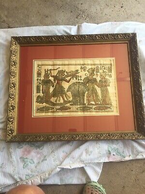 Egyptian Painted Picture Lithograph type Antique Wood Framed Beautiful