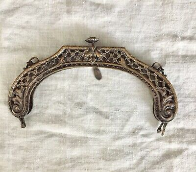 Antique Vintage FRENCH BRASS PURSE FRAME~PUSH CLASP~BEAUTIFUL! VICTORIAN?