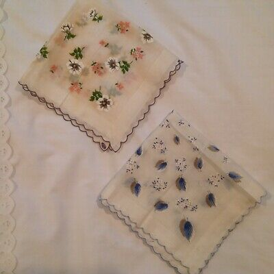 Vintage Lot of 2 Ladies Hanky w/Flower Design-Made in Philippines