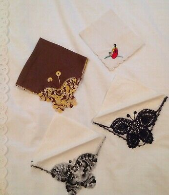 Vintage Lot of 4 Hand Crocheted Embroidered Linen Hankies