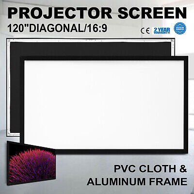 """120"""" 16:9 Fixed Frame Projector Screen HD 4K Home Theatre 3D STREET PRICE"""