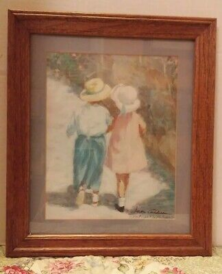 """21/"""" X 17/"""" HAND SIGNED IVAN ANDERSON GIRL AND BOY WALKING LITHOGRAPH PRINT"""