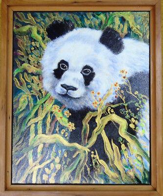 Realism Animal Painting Original Cherry Frame Acrylica Canvas Trees Panda