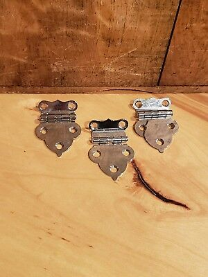 Set of 3 Vintage Art Deco Retro Chrome Offset Hinges Mid Century Modern Lot