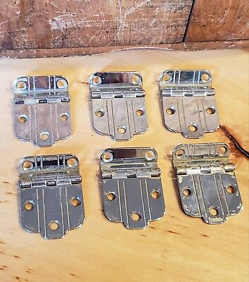 6 Vintage Art Deco Chrome Offset Hinges Mid Century Modern Atomic Lot