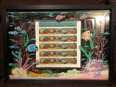 US SCOTT 3317a - 20a PANE OF 20 AQUARIUM FISH OVERALL TAGGING 33 CENT FACE FRAME