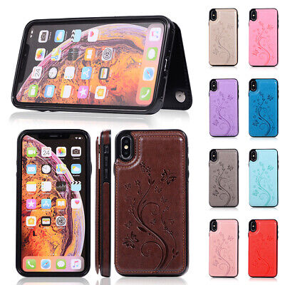 Genuine Leather Folio Flip Wallet Case Cover For iPhone/Samsung Galaxy X/S