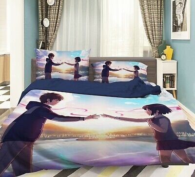 3D Sunset Couple Holding Hands A123 Japan Anime Bed Quilt Duvet Cover Double Zoe