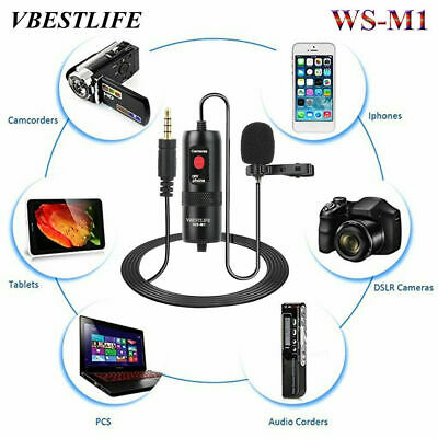 VBESTLIFE WS-M1 Clip On Lapel Microphone Hands Free Wired Mini Lavalier 3.5mm WN