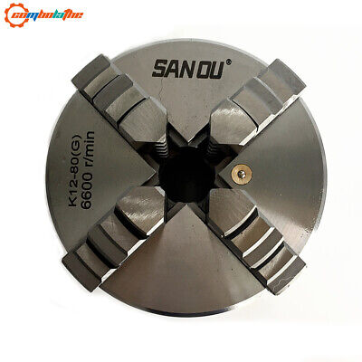 4 jaw lathe chuck self-centering 80mm K12-80 with hardened steel for mini lathe