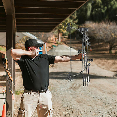Pro Compound Right Hand Bow Kit w/ Arrow Adjustable 20 to 70lbs Archery Set Camo