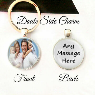 Personalised Double Side Photo Keyring Any Message Mum Dad Birthday Present Gift