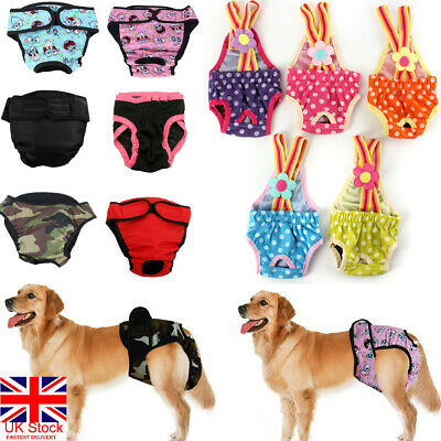 UK Female Dog Puppy Pet Diaper Pant Physiological Sanitary Panty Underwear XS-XL